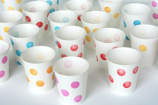 DIY Stamped Party Cups by ohhappyday - frozen yogurt cups