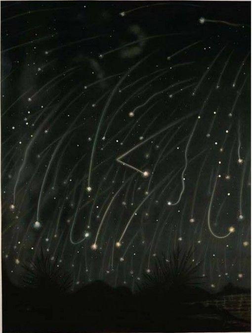 november meteors: Trouvelot Illustrations, Astronomy Illustrations