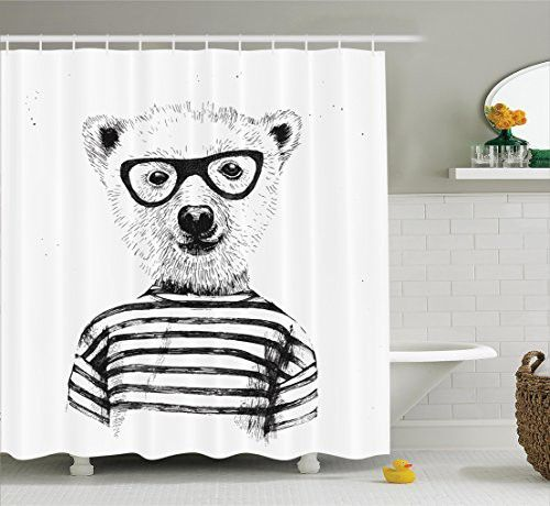 Funny Shower Curtain Apartment Decor By Ambesonne, Dressed Up Hipster Nerd  Smart Male Bear In