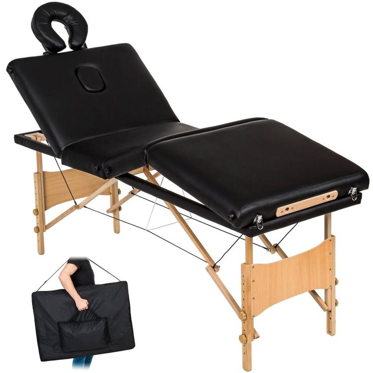 Table de massage Pliante 4 Zones Bois, Lit massage Portable noir