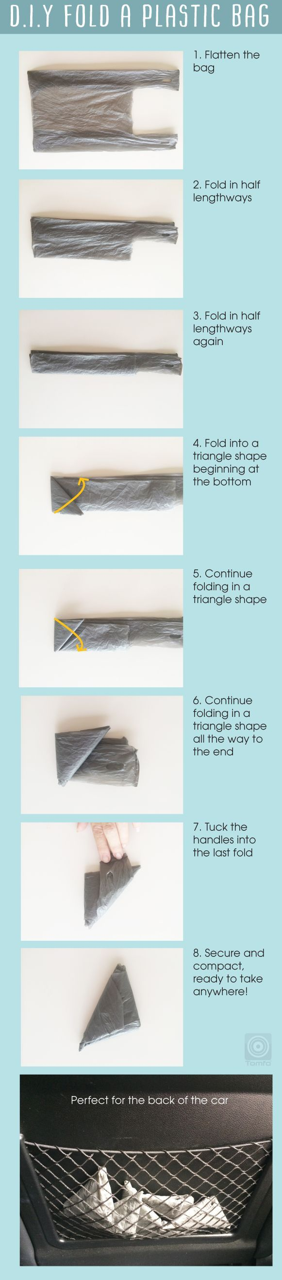 How to fold a plastic bag so you can save space, keep them in your handbag, baby bag or car, great when you walk the dog too. Easy to do and go green at the same time. Visit http://www.tomfo.com/how-to-fold-a-plastic-bag-save-space-and-go-greener - small black leather bag, shop bags online, satchel bag *ad