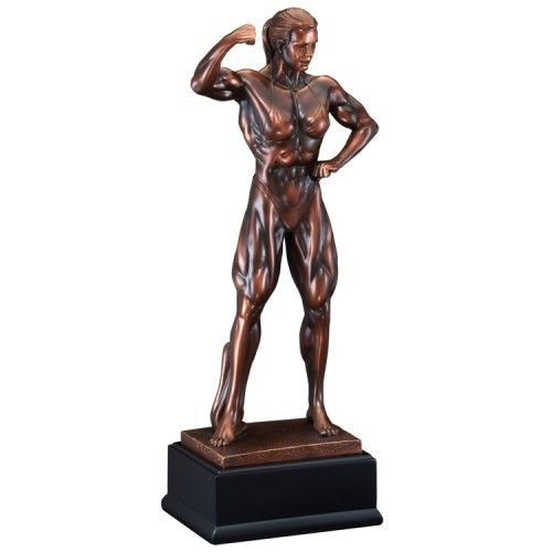 """Our Women's Bodybuilding Trophy features a bronze statue of a female bodybuilder mounted on a black base with an engraving plate for free personalized engraving.  RFB228 is 5"""" x 11"""", RFB229 is 6"""" x 14.5"""", and RFB230 is 8"""" x 19""""."""