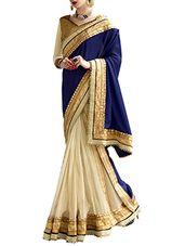 blue satin, chiffon, net saree - Online Shopping for Sarees