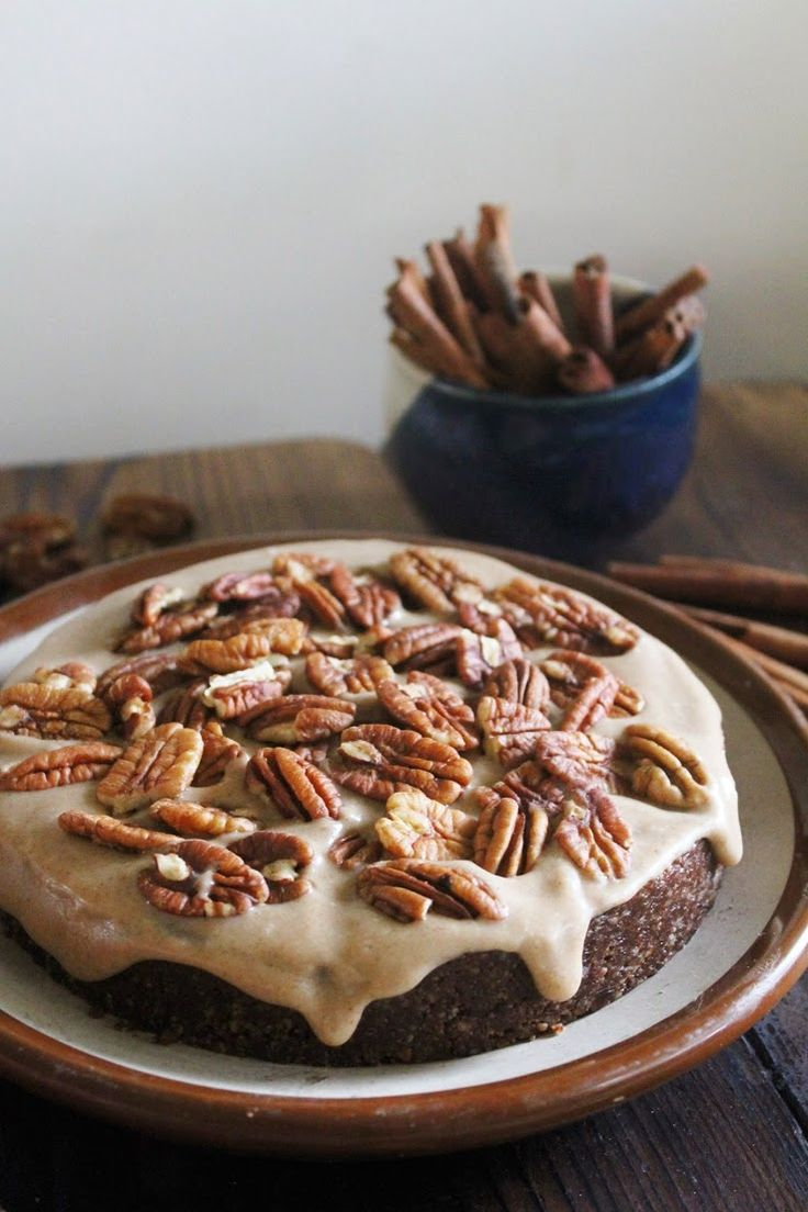 vegan dark chocolate cake with spiced caramel and pecans