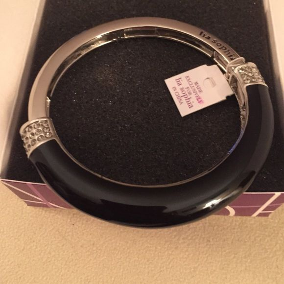 BRAND NEW! Lia Sophia Chromatic Bracelet Black & Silver bangle. Clear stones. Medium Lia Sophia Jewelry Bracelets