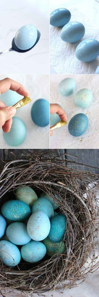 DIY Easter eggs nest, DIY Easter decoration ideas, DIY Easter eggs tutorial. Easter crafts ideas. Easter craft project for your party. Perfect for gift basket. Egg wreath. Birds nest tutorial.