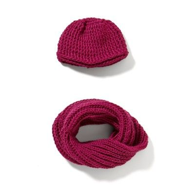 The crocheted soft and fluffy, fanciful tube shawl and a warm and comfortable cap.