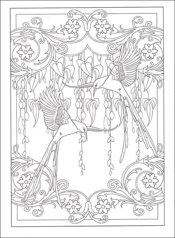 Art Nouveau Coloring Book Mim5 Art Nouveau Animal Designs Coloring Wenn Du Mal Buch Ausmalen Jugendstil