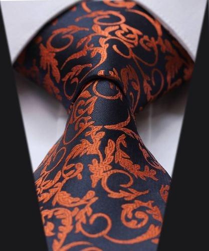 """Orange Blue Floral 3.4"""" Silk Classic Jacquard Woven Men's Tie"""