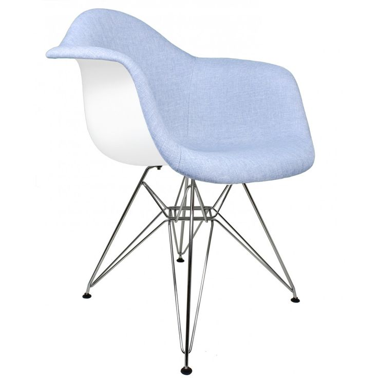 Best Blue Denim Fabric Upholstered Accent Arm Chair Chair 400 x 300
