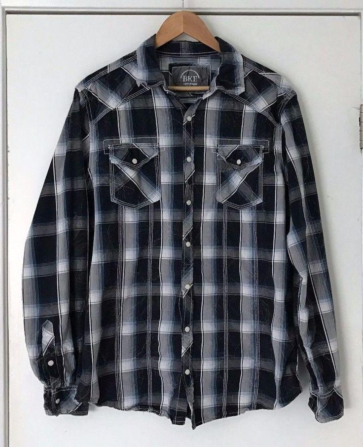 vintage 1970's -K-Mart- Men's long sleeve shirt. BIG Button-down collar. Blue & White grid plaid. Worn to perfection. Large 16 ljoqXv