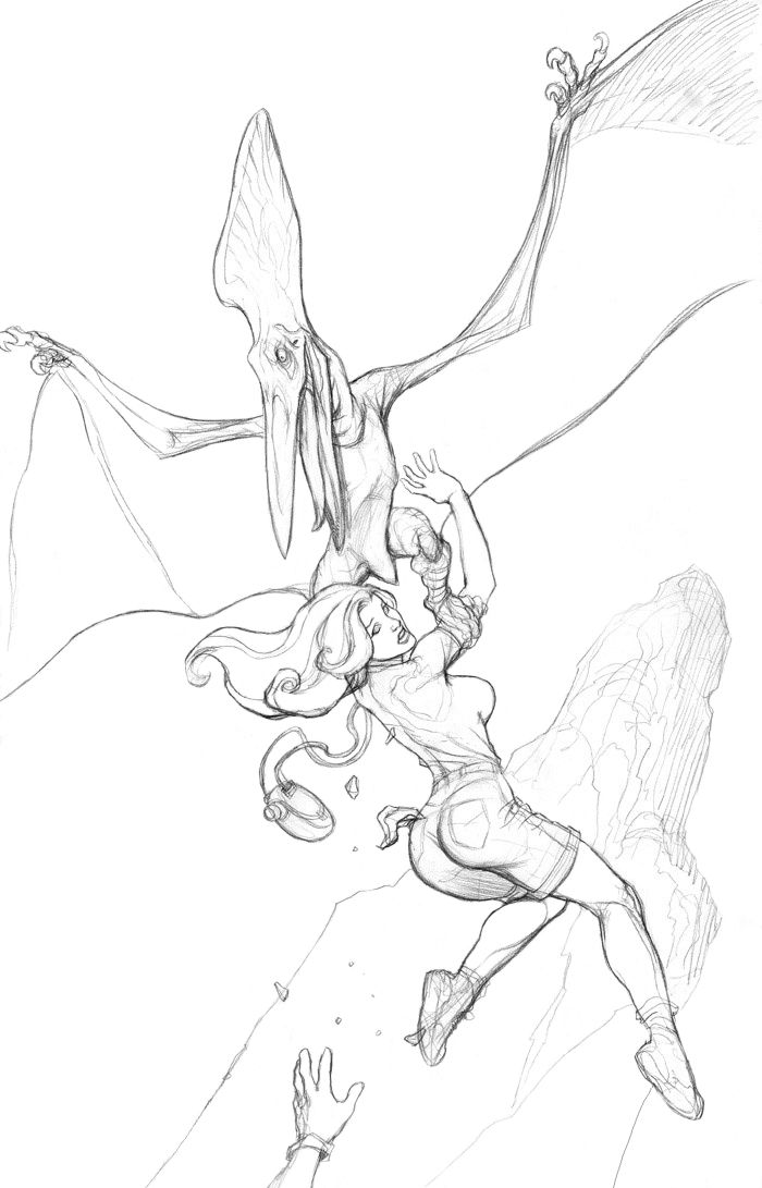 how to draw a cartoon pterodactyl