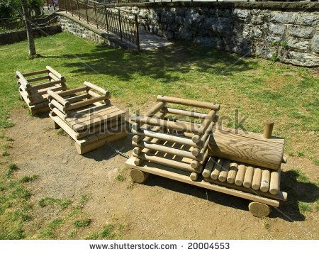 Rural playground with a wood toy train