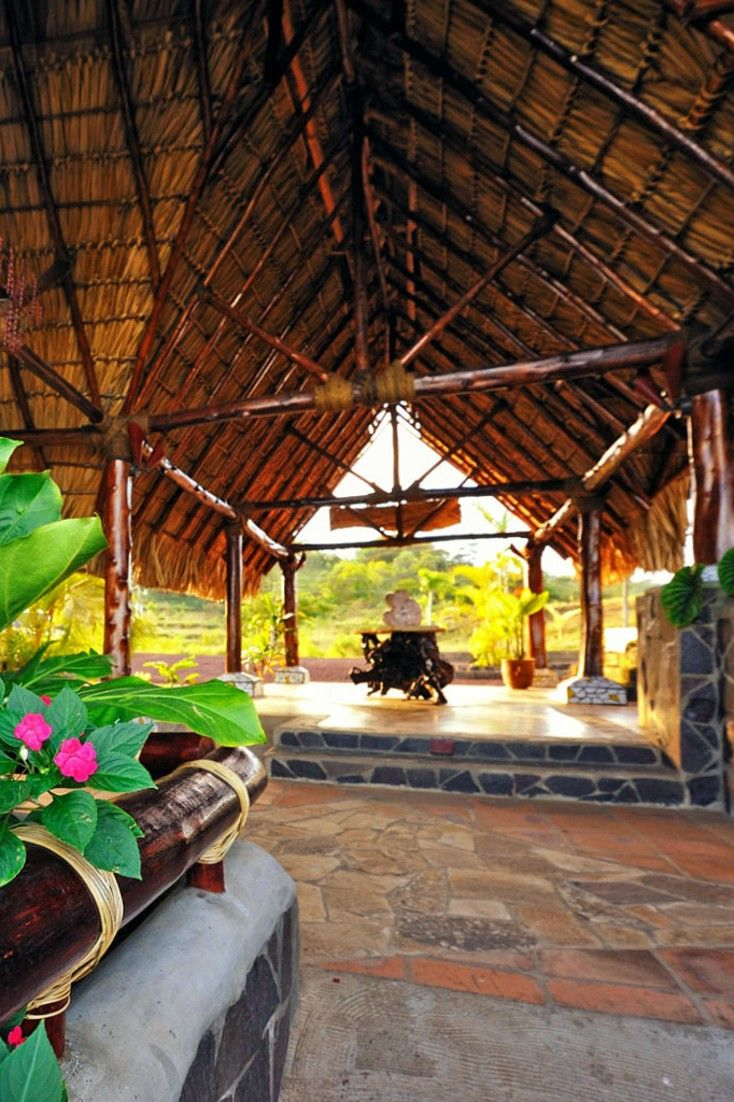 Hacienda Puerta del Cieloaily - Masatepe, Nicaragua Adult Only Eco All Inclusive from $262 per night includes breakfast, lunch and dinner, peaceful, natural setting above Masaya Lake with views of two volcanoes. Casitas have outdoor showers and private patios. The last mile of the road to the hotel follows an oxcart track — it's rough, rutted and narrow #Jetsetter