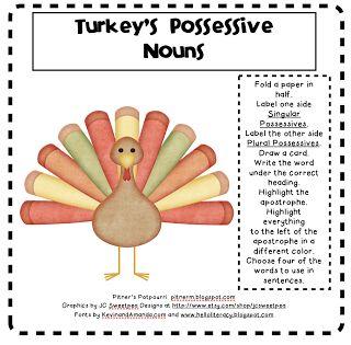 LA - Possessive Nouns - Turkey's Possessive Nouns (w/ Graphic Org) FREEBIE via Pitner's Potpourri