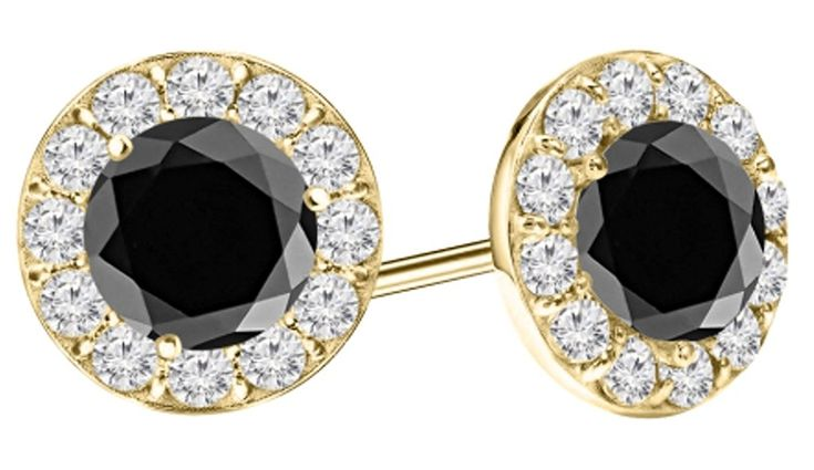2 Carat t.w. Black Diamond Halo Diamond Earrings Pair 14K Yellow Gold Screw Back *** Visit the image link more details. (This is an affiliate link) #WomensJewelry