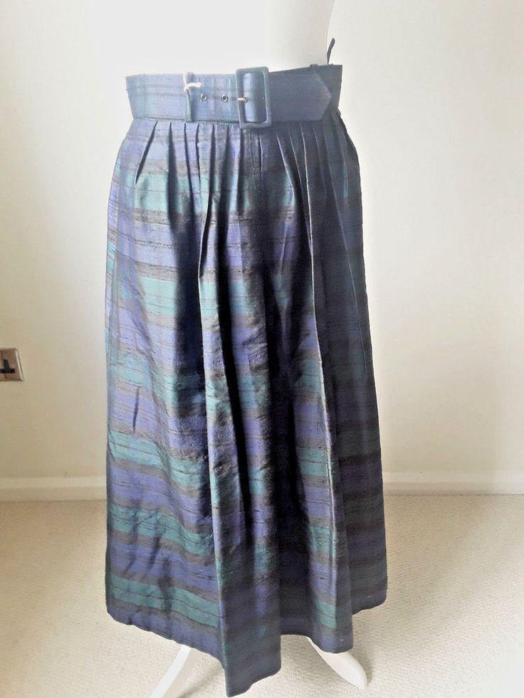 Blackwatch plaid  raw silk Selfridges  skirt #Selfridges #full #Party