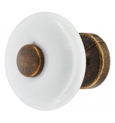 Knopgreb, Hvid porcelæn, antik center, Ø30 mm