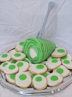 Green eggs and ham cookies.  Great for a Dr. Suess shower.