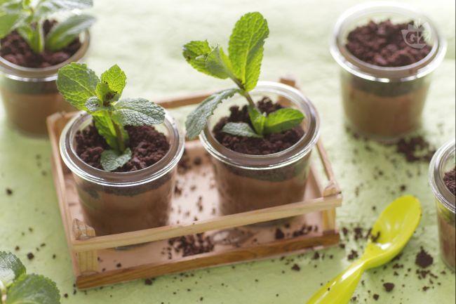 Budini Menta e Cioccolato in Vasetto con Crumble
