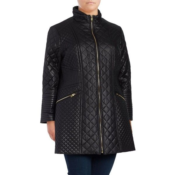 Via Spiga Women's Zip-Up Quilted Jacket ($80) ❤ liked on Polyvore featuring plus size women's fashion, plus size clothing, plus size outerwear, plus size jackets, blush, zipper jacket, via spiga, long sleeve jacket, via spiga jacket and fleece-lined jackets