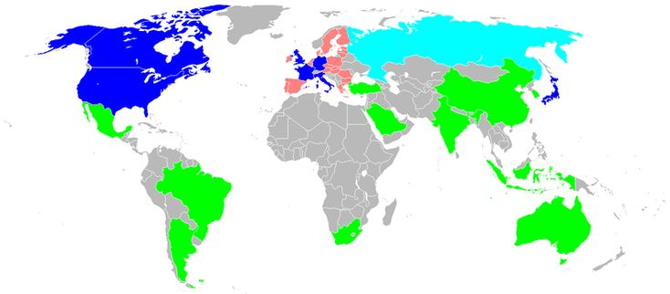 G20-Staaten. Die rosa gekennzeichneten Länder sind indirekt durch die EU vertreten. Grafik: Exile824, wikimedia