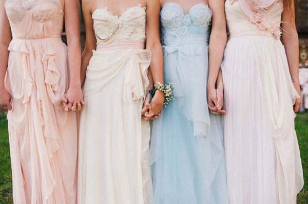 soft, flowing, pastel bridesmaids dresses // photo by Simply Sarah Photography