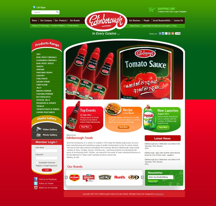 Edinborugh Foods, Product portal and Cart System done by eDesigners.