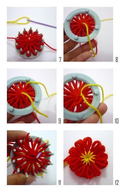 Crochet.is.Fun: Tutorial: How to make a simple flower using flower loom