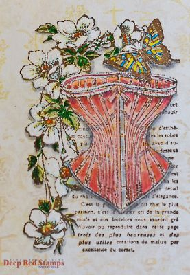 Corset Collage Card, French and Asian Fusion