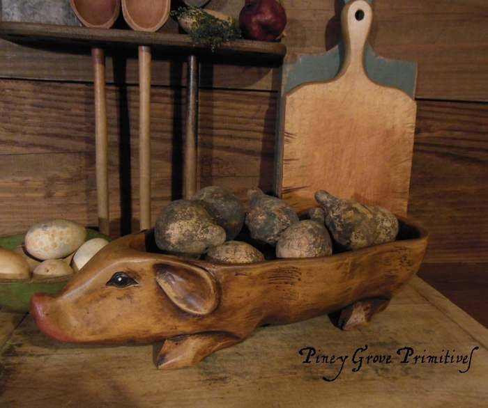 OLDE COUNTRY FARMHOUSE LARGE WOOD STYLE PIG TRENCHER BOWL SCULPTURAL SERVER