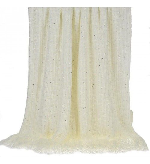 KNITTED THROW IN IVORY COLOR WITH FRINGES 130X150