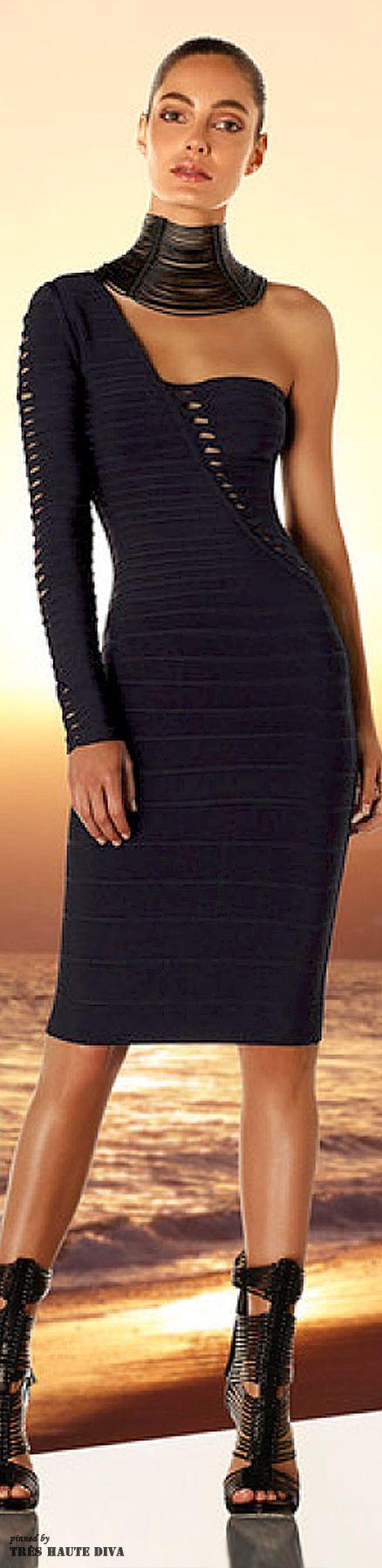 Travel Ready Resort Wear . Serafini Amelia . Hervé Léger by Max Azria Resort 2015 . Black women's fashion . Off shoulder