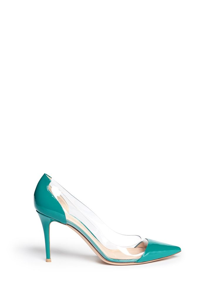 Mirror a Cinderella appeal with these clear PVC pumps from Gianvito Rossi. Panelled with turquoise patent leather, this pair is a charming complement for both your office and off-duty styles.