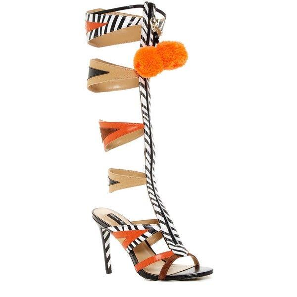 Alejandra G Giselle Gladiator Heeled Sandal ($187) ❤ liked on Polyvore featuring shoes, sandals, orange, open toe sandals, high heel gladiator sandals, strappy heeled sandals, strappy sandals and orange sandals