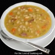 Slow Simmered White Bean and Ham Soup ** Excellent flavor, easy preparation with canned beans and broth.  Will make again