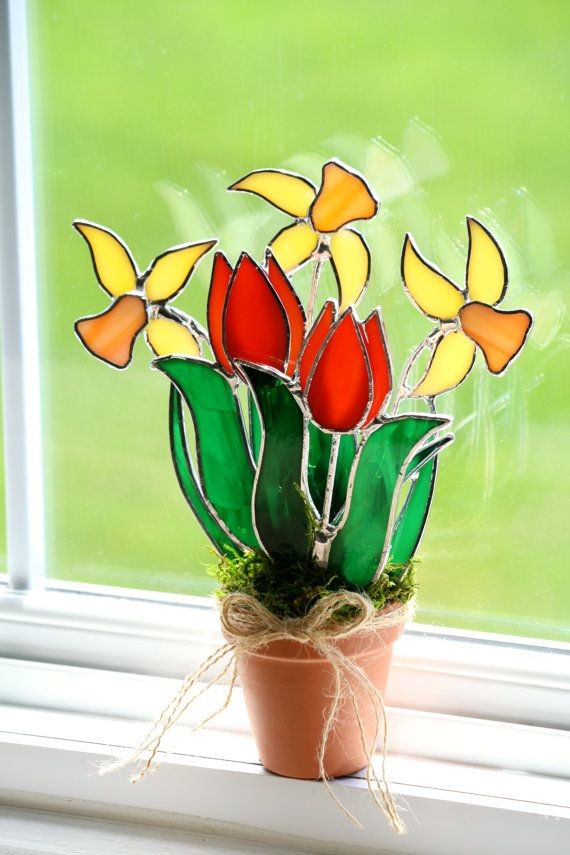 Stained Glass Bouquet Multi Flower Tulip Daffodil by GalaGardens, $33.50