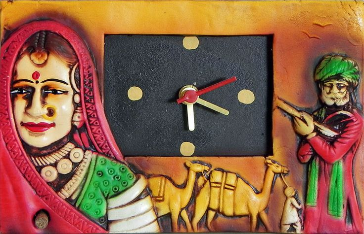 Battery Operated Wall Clock in a Terracotta Plate with Rajasthani Couple - Wall Hanging (Terracotta))