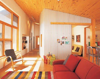 Great Feel With Lots Of Light. Wood Ceiling Corrugated Metal Wall