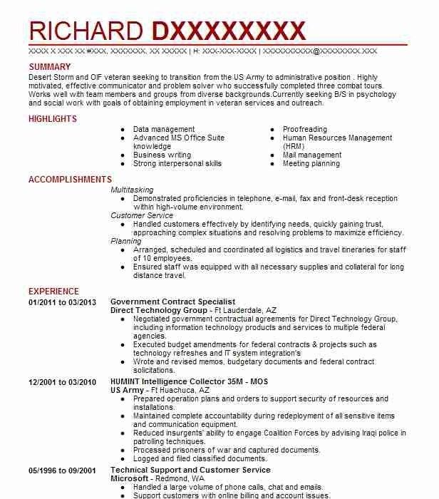 70 Best Of Stock Of Sample Resume Government Contract Specialist