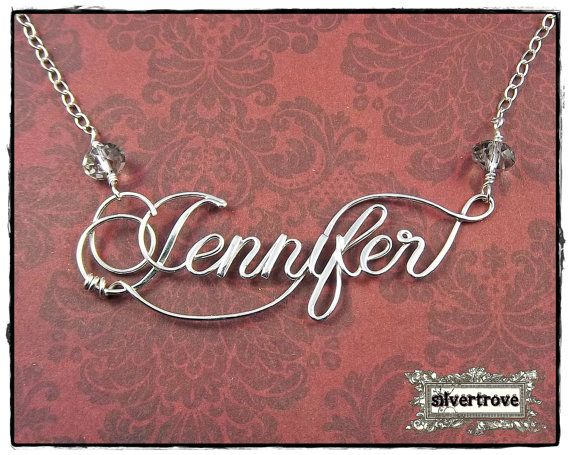 Large Size Personalized Sterling Silver Calligraphy Script Name Necklace, With Handmade Clasp