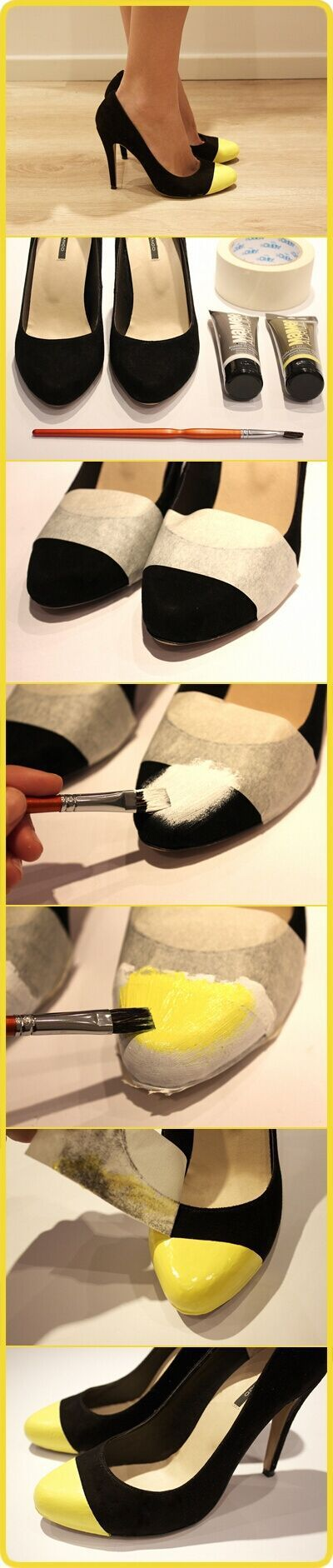 Great idea to restyle old shoes & add a little color!!