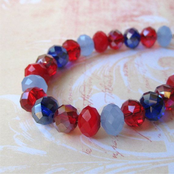 Bracelet blue and red glass faceted crystals. by planettreasures