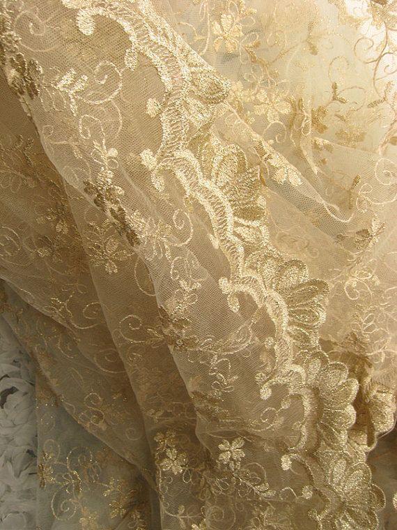 Gold Lace Stoff bestickte Spitze Stoff für Kleid Kleid von lacetime