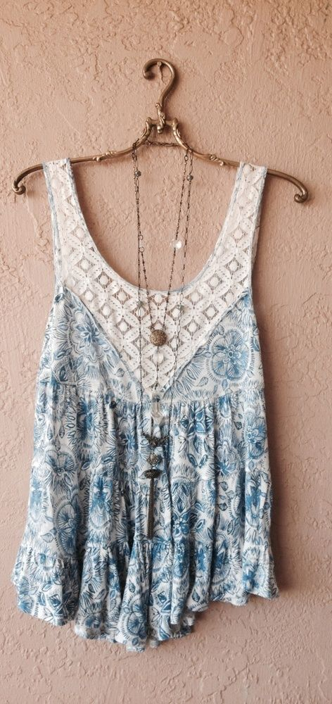 Free people Blue summer resort lace and floral tunic