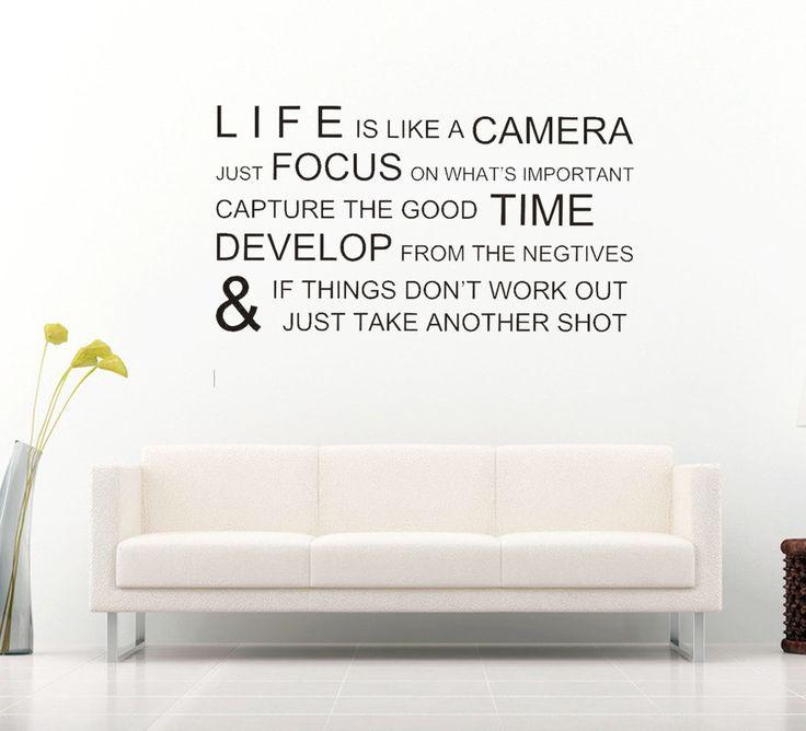 Life is like a camera! Låt dig inspireras dagligen av en väggdekor med motiverande text! Det snygga mönstret samt inspirerande innehållet ger hemmet det lilla extra.  Länk till produkt: http://www.feelhome.se/produkt/life-is-like-a-camera/   #Homedecoration #art #interior #design #Walldecor #väggdekor #interiordesign #Vardagsrum #Kontor #Modernt #vägg #inredning #inredningstips #heminredning #citat #Motivation #tid #livet #kärlek #fokus