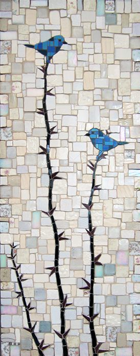 "Michael Sweere Mosaic Company - ""Blue Birds"" Broken plates, ceramic tile and glass"