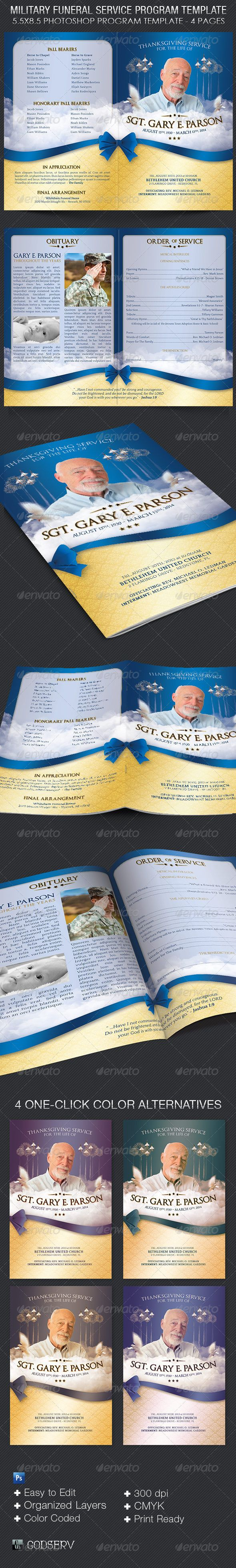 Military Funeral Service Program Template - $8.00 The Military Funeral Service Program Template is for a modern commemorative or home going service. Designed specifically for military funerals but can be edited for other funerals and events like weddings and receptions.