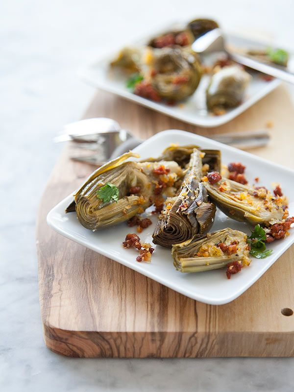 Roasted Artichoke with Chorizo Dressing | FoodieCrush.com