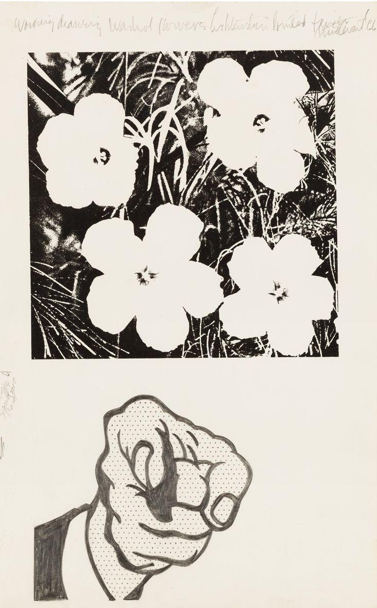 Working Drawing Warhol Flowers Lichtenstein Pointed Finger, 1966
